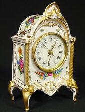 DRESDEN - Uhr PORZELLANUHR Tischuhr Kaminuhr auf Füßen - BAROCK - handbemalt