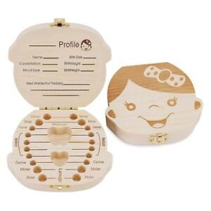 Wooden Kids Baby Tooth Box Organizer Milk Teeth Wood Box Gifts Storage F E1C0