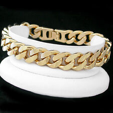 "12mm JUMBO CURB Link 8"" 24kt GOLD GL MENS Bracelet 