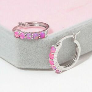 WOW NEU Edle 926 Silber  Ohrringe, Creolen, rosa Feuer Opal-Perlen
