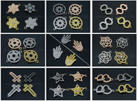 Clear Zircon Gemstones Pave Bracelet Connector Charm Beads Silver Gold Gunmetal