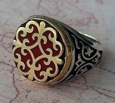 TURCO Ottomano Autentico SMALTO Solid 925 Argento Sterling Uomini Anello Pietra preziosa