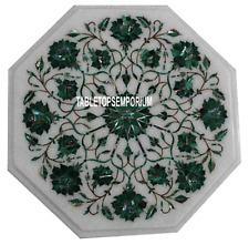"12"" White Marble Top Mosaic Table Malachite Floral  Inlay Marquetry Work Decor"