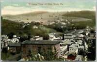 GLEN ROCK PA BIRDSEYE VIEW 1917 ANTIQUE POSTCARD