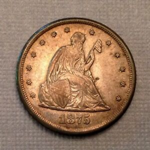 -1875 CC Seated Liberty 20 Cent Piece AU A/Uncirculated ANACS 50 Details