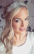 Silver Crystal Diamante Ivory Pearl Tiara Hair Head Band Choochie Bridal Bride