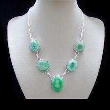 Solar Quarz grün Design Kette Halskette Collier Silber plattiert versilbert neu