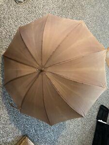 Vintage Brown Umbrella Wood Handle Italy Leather Tassel