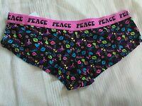 Black Boyshort Panties with (PEACE) on waist band Size Medium 10364