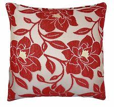 DE LUJO chenilla Flor Floral Grueso Rojo Crema Oro Funda De Cojín 18cm-45cm