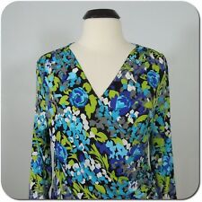 SCOTT TAYLOR Women's Floral Blouse, Cross Ruched Front, 3/4 Sleeves size L