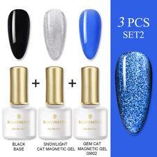 Born Pretty 3PCS Soak Off Nail Esmalte Gel UV Gato Snowlight Kit De Barniz magnético