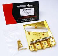 Genuine Fender Telecaster Tele American Vintage GOLD Bridge Plate w/ 3-Saddle