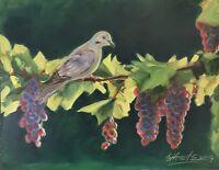 Original oil painting Dove Bird vineyard garden Art Listed By artist Artettina
