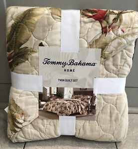 2-Pc Tommy Bahama Twin Tanzania Quilt Set Tropical Beach Floral Beige Rust