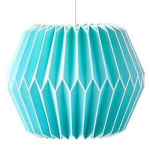 Pottery Barn Teen Geo Origami Paper Lantern BLUE Pendant Light w/ Cord Kit
