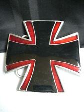 Men Women Fashion Belt Buckle Silver Metal Black Red Medieval Iron Cross Big