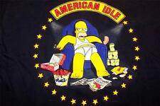 American Idle Homer Simpson T-Shirt Men's Navy Blue Simpson Family Messy Slob M