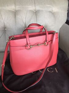 Gucci Bright Bit Leather Tote bag Fuchsia Pink Medium
