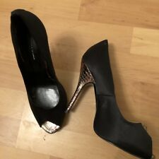 Trinny And Susannah Satin Black Peep Toe High Heel Shoes Size 6