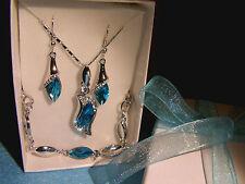 Parure bijoux femme 4 pièces goutte de larme Cristal Strass bleu azur