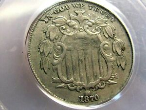 1870 SHEILD NICKEL, PCGS XF45, MUCH BETTER DATE, NICE