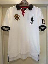 XXL POLO RALPH LAUREN CROWN CUSTOM FIT PRL WHT BLK RED GLD RUGBY MESH POLO SHIRT