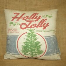 Holly Jolly Christmas Tree Fertilizer Throw Pillow 2 Sided Primitives by Kathy