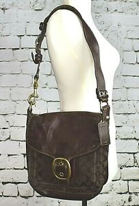 COACH Legacy Bleecker Buckle Leather Signature Brown Purse Shoulder Bag 11434