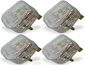 Clear Transparent Mains Electrical Plug 13A Fuse fitted Uk Power 500w Applicance