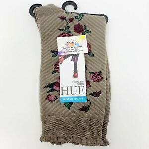 Hue Rose Print Femme Top Sock, Cinnaberry Herringbone Floral, Women's One Size