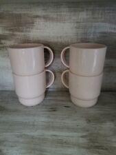 SET 4 RARE VINTAGE TUPPERWARE PINK COFFEE CUP MUG PLASTIC TUMBLER STACKING CUPS