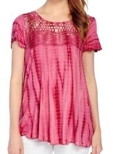 683da5d24f1 NEW - OSO Casuals® Knit Tie-Dye Short Sleeve Round Neck Crocheted Yoke Top