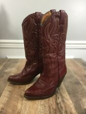 Mora Made In Spain Cowboy Cowgirl Boots Size EU 35 US 4.5-5 Burgundy Red Wine