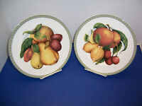Fitz Floyd Belle Classique 2 Salad Plates Pear & Plum and Cherry & Lemon NWT