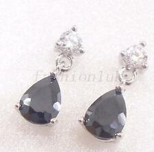 fashion1uk schwarz & transparent Cubic Zirkonia Tropfen Ohrstecker Ohrringe