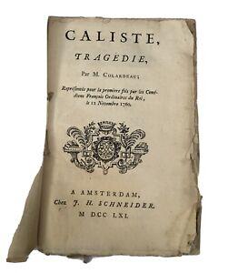 COLARDEAU (Charles-Pierre) - Caliste, tragédie. - 1761  Théâtre - Quantité : 1 -