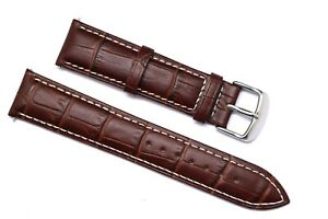 18mm 20mm 22mm 24mm Brown/White Alligator Grain Leather Watch Band Silver Buckle