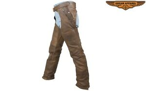 Men's Riding Brown Leather Chaps With Removable Liner Butter Soft Thick Leather