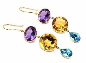 18k yellow Gold Handmade Citrine, blue topaz and amethyst hanging earrings.