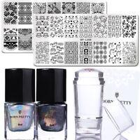 BORN PRETTY 6Pcs Nail Art Stamp Plates Holographic Stamp Polish Stamper Scraper