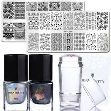 BORN PRETTY 6Pcs Nail Art Stamp Plates Holographic Stamp Polish Stamper Scraper