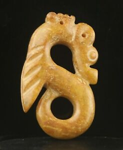 Old China natural jade hand-carved statue dragon pendant