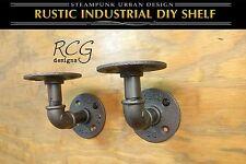 "Pair 2x2"" L Brackets DIY Pipes (4""-6"" deep shelf) urban steampunk rustic decor"