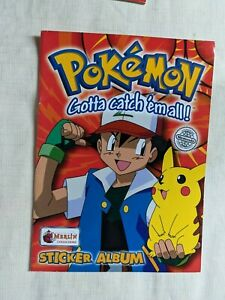 vintage Pokemon sticker albums 1 incomplete, merlin collections M