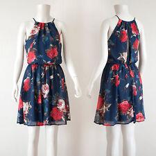 Navy Floral Print Sleeveless Halter Split Back Detail Dress/ Medium