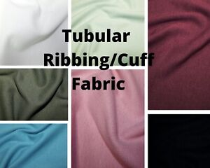 Plain Colour RIB 70cm Wide Tubular Sweatshirt CUFFING Cotton Jersey Fabric