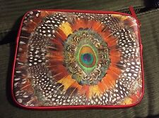 """LUCKY BRAND RED PEACOCK FEATHER NEOPRENE ZIP SLEEVE TABLET CASE IPAD NOTE 11.5"""""""