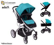 InfaSecure Arlo Stroller Baby Kid Pram Reversible Seat Handle Silver Frame Aqua