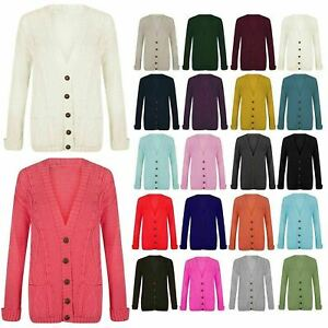 Womens Ladies Chunky Cable Knit Cardigan 5 Button Long Sleeves Grandad Plus Size